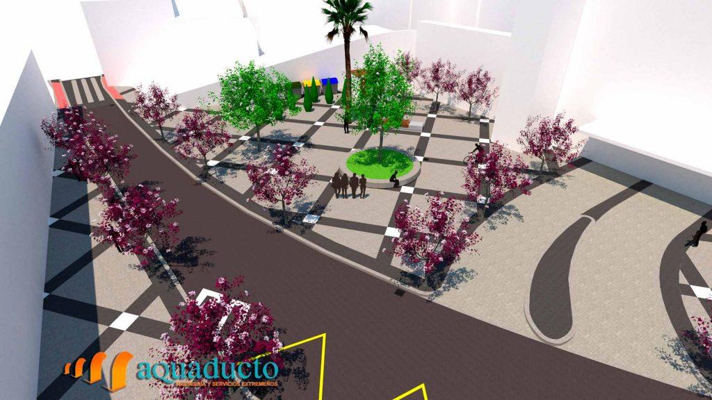 representación 3D de la plaza galarza de caceres vista desde el balcón