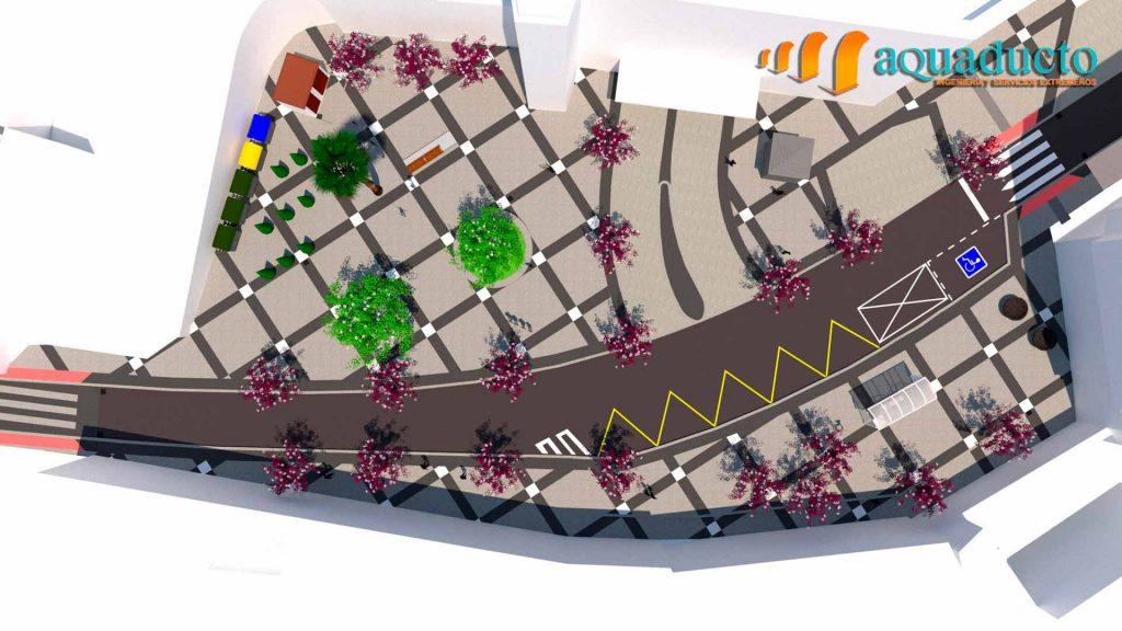 representación 3D de la vista aerea de la plaza