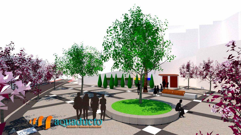 representación 3D de la plaza galarza de caceres